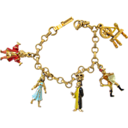 Vintage Disney Character Sleeping Beauty Charm Bracelet