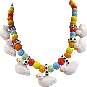 Parrot Pearls Ceramic Duck Necklace