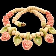 Vintage Flying Colors Ceramic Pink Flower Necklace