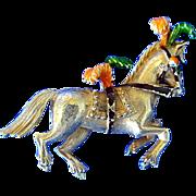 Vintage FLORENZA Circus Series Gold Plated Horse Pin plus Clown Pin - Book Piece