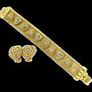 Vintage Florenza Gold Tone Mesh Charm Bracelet and Earring Set