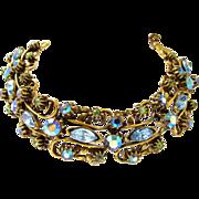 Florenza Blue Rhinestone and Antiqued Gold Tone Bracelet