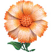 Hedy Orange Enamel Flower Pin