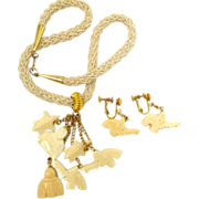 SALE Hobe Faux Ivory Asian Theme Dangle Necklace and Earring Set - In Original Box