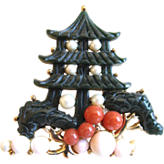 Hobe Oriental Faux Jade and Faux Coral Pagoda Pin / Pendant