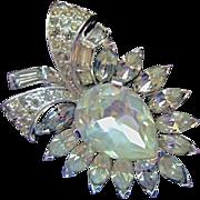 Vintage JOMAZ / Mazer Clear Rhinestone Pin / Brooch