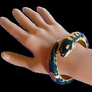 Joan Rivers Snake Clamper Bracelet in Midnight Blue
