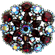 Delizza & Elster Deep Red Flower Cluster Brooch - Book Piece