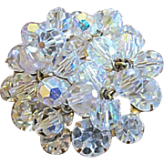 Vintage DeLizza & Elster (D & E, Juliana) Clear Rhinestone and Crystal Bead Brooch / Pin