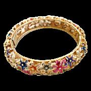 Kramer Enamel Flower Bangle Bracelet