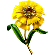 Crown Trifari Yellow Enamel Carnation Flower Pin - Advertisement Piece