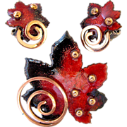 Matisse Copper and Red Maple Leaf Brooch and Earring Set - Book Piece