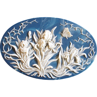 Blue Incolay Large Oval Iris Jewelry Box