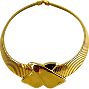 Vintage Napier Gold Tone Snake Chain Choker Necklace
