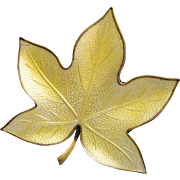Denmark Yellow Enamel Silver Leaf Pin - By Brd.B