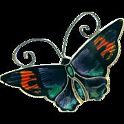 David Andersen Sterling Purple Enamel Butterfly Brooch