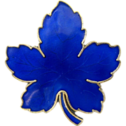 MEKA Denmark Sterling Maple Leaf Pin in Blue Enamel