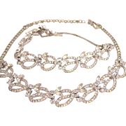 Pennino Clear Rhinestone Necklace and Bracelet Set