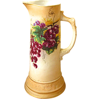 SALE Vintage Royal Firenze China Tankard / Pitcher with Grape Design