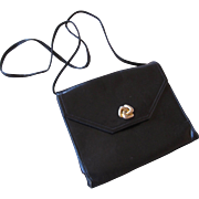 Frenchy of California Black Leather Envelope Purse