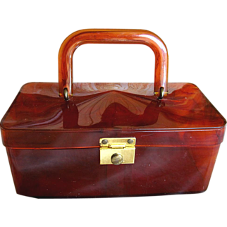 Lucite Box Purse in Faux Tortoise Shell