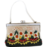 REDUCED Vintage White Beaded Flower Purse
