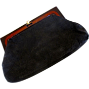 REDUCED Black Suede Clutch Made in Italy
