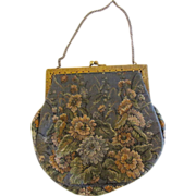 Vintage Petit Point Grey Flower Purse from France