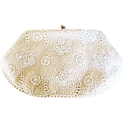 REDUCED Magid Japan White Flower Bead Purse