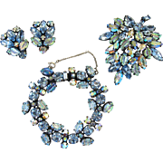 Regency Blue Art Glass Parure - Bracelet, Brooch and Clip Earrings
