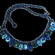 Signed Regency Blue Green Rhinestone Choker Necklace