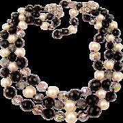 Schiaparelli Triple Strand Black and White Bead Necklace