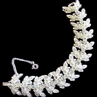 Sarah Coventry Clear Rhinestone Silver Tone Bracelet