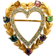 Trifari Rhinestone Heart Pin - Book Piece