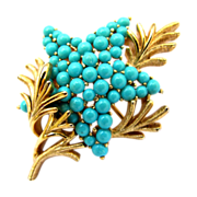 Crown Trifari Faux Turquoise Starfish Pin