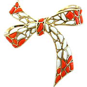 TRIFARI Modern Mosaic Poured Glass Bow Pin by Alfred Phillippe - Ad and Book Piece