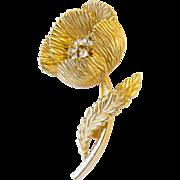 Crown Trifari Gold Trifarium Plated Flower Pin
