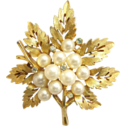 Trifari Gold Tone Leaf and Faux Pearl Pin