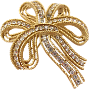 Trifari Cavalcade Gold Tone Bow Pin - Large