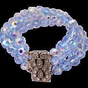 Vintage Blue Crystal Bead Bracelet - Three Strands