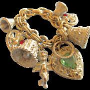 Vintage Whitewash Wedding Charm Bracelet