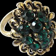 Vintage Green Rhinestone Adjustable Ring