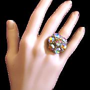 Vintage Pink Aurora Borealis Cluster Rhinestone Adjustable Ring