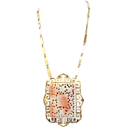 Vendôme Faux Blush Coral Chinese Pendant Necklace