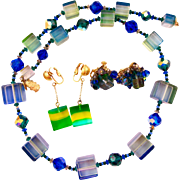 Vendome Blue / Green Lucite Squares Necklace and Earring Set