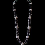 Vendome Black Bead and Rhinestone Ball Opera Necklace and Earring Set