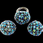 Vintage Warner Blue Dome Ring and Earring Set