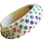 Unsigned Weiss Clamper Bracelet with Pastel Rhinestones