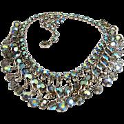 Weiss Bezel Set Grey Crystal Dangle Necklace