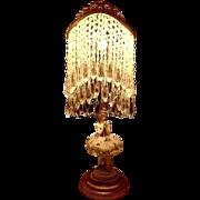French Gilt Ormolu Crystal Beaded Prism  Figural Figurine Volkstedt Ballerina Lamp